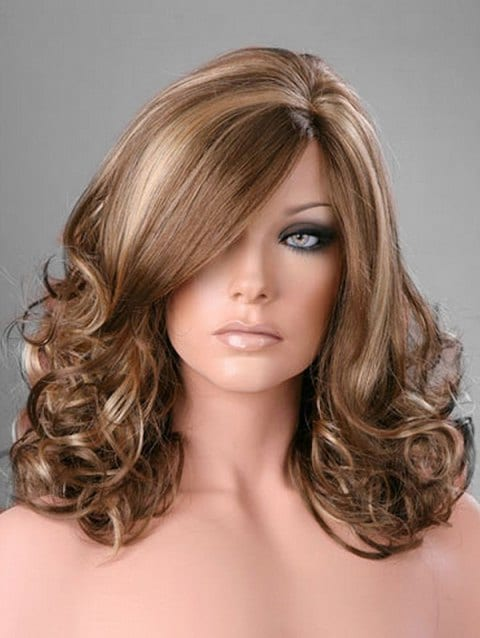 Ladystar Lace Front Wigs Side Part Curly Long Synthetic Wig