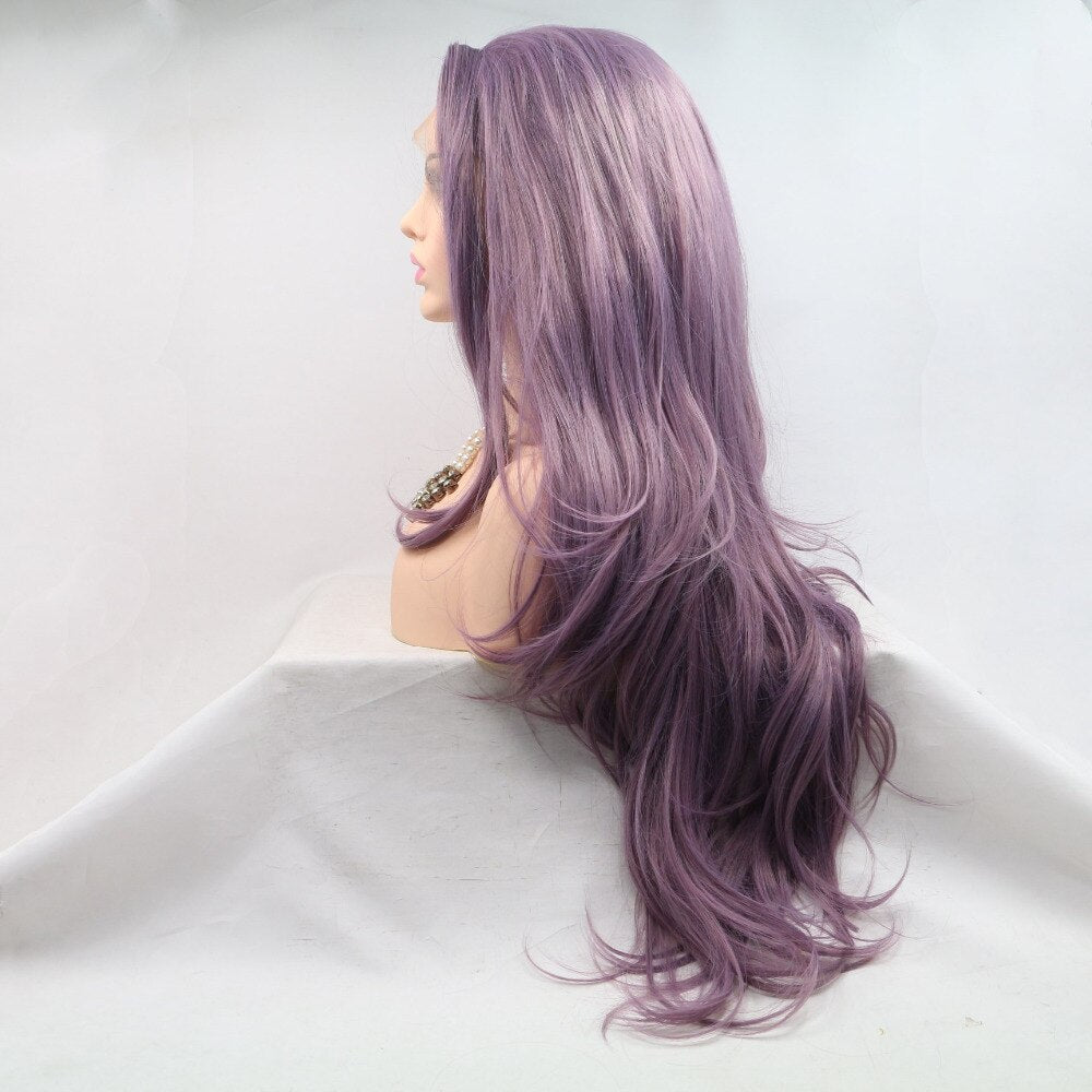 Ladiesstar Luxurious Looking Long Wavy Heat Resistant Fiber Synthetic Lace Front Lavender Purple Wigs For Women/Free Shipping