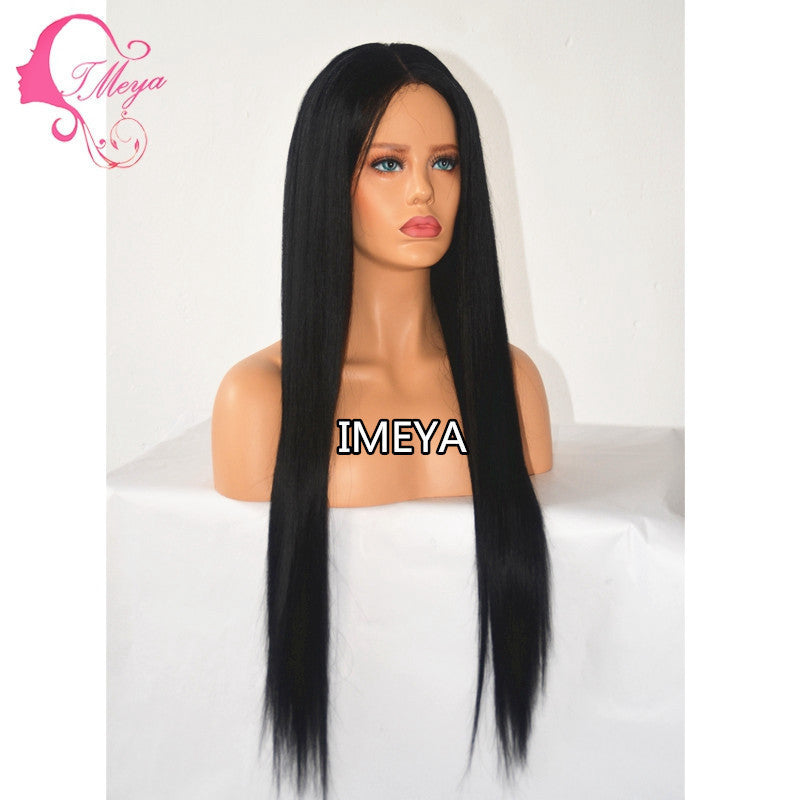Brazilian Virgin Human Hair 150Density Natural Black Color Silk Straight Glueless Lace Front Wigs/Free Shipping