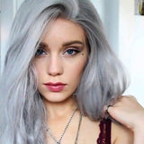 Female Grey Wavy Party Curly Synthetic Wig Lace Wigs Women Lace Front Hair/Free Shipping