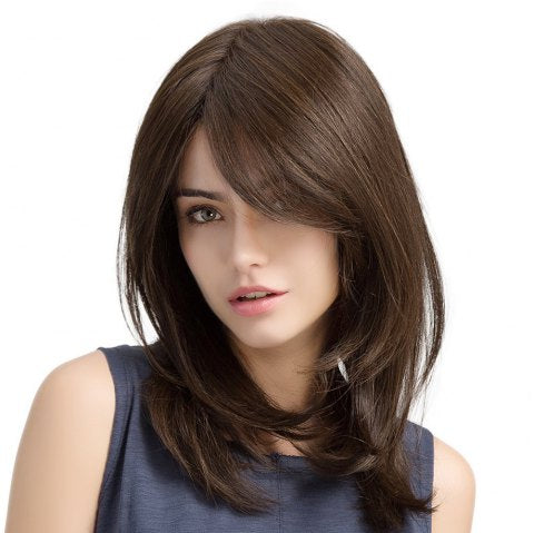 Oblique Bangs Long Curly Hair Brown Pear Flower Buckle Ladies Wig