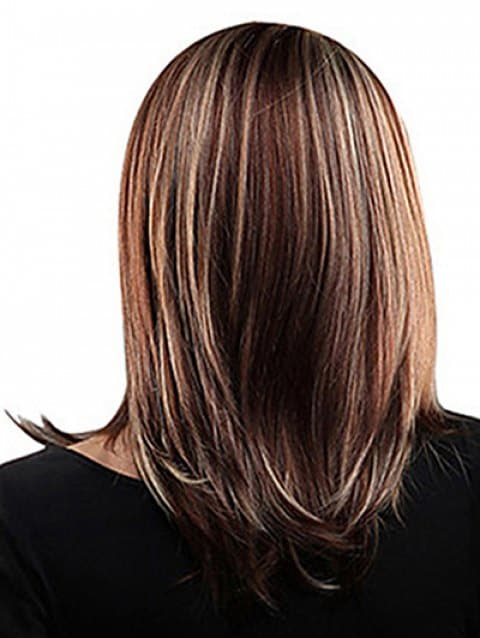 Center Parting Highlighted Straight Medium Bob Synthetic Wig