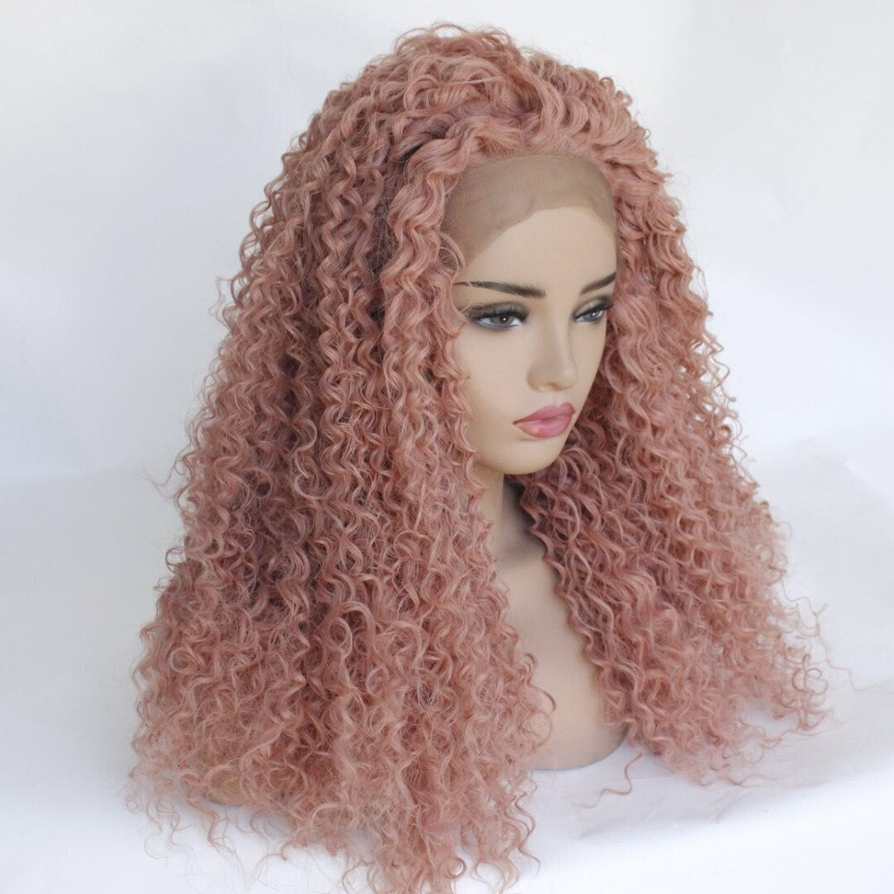 Ladiesstar Kinky Curly Candy Pink Synthetic Lace Front Wig Heat Resistant Fiber Replacement Rose Gold Tight Curly Lace Front Wig