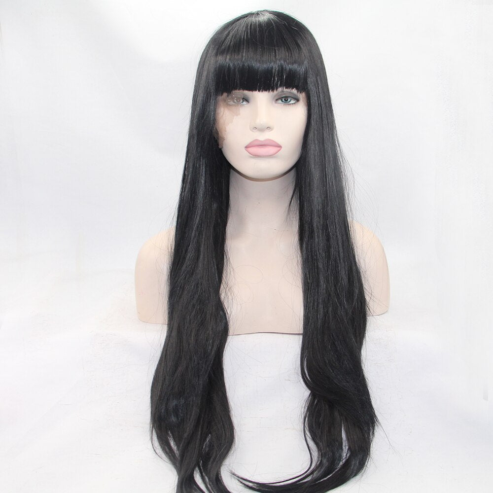 Fantasy Beauty Black Wig 24 inches Full Fringe Long Straight Hair Wig for Women Heat Resistant Synthetic Wig With Bangs