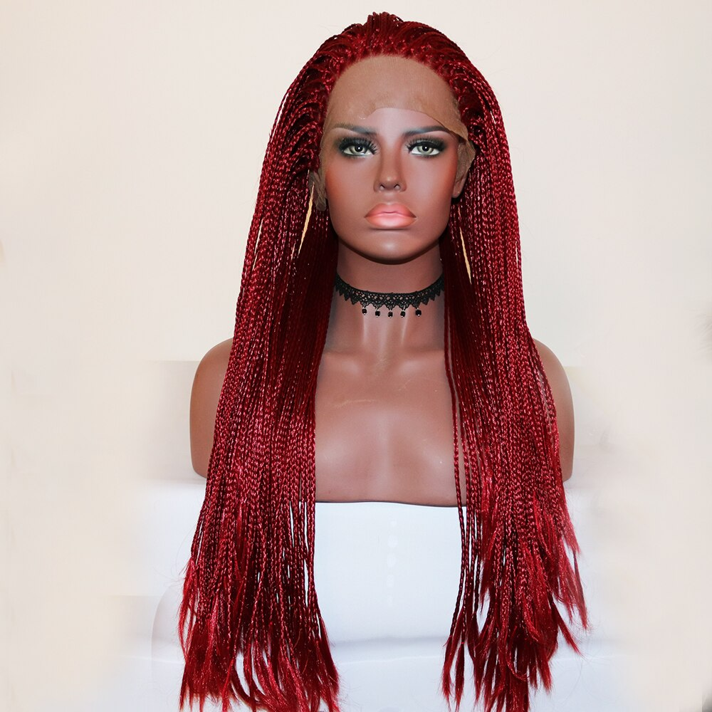 Fantasy Beauty Long Braided Hair Synthetic Lace Front Wigs Dark Red Color Micro Braids with Baby Hair Free Part Heat Resistant