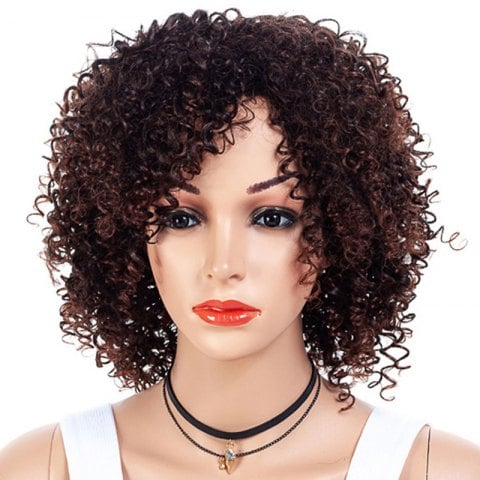 Inclined Bang Gradient Ramp Small Curl Wig