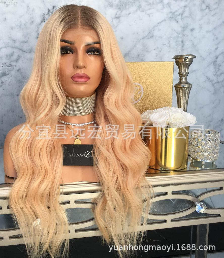 Blonde dark roots 24 inch lace front wig