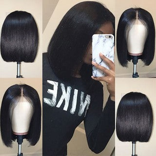 Ready Stock Short Lace Front Human Hair Wigs Brazilian Remy Hair Bob Wig