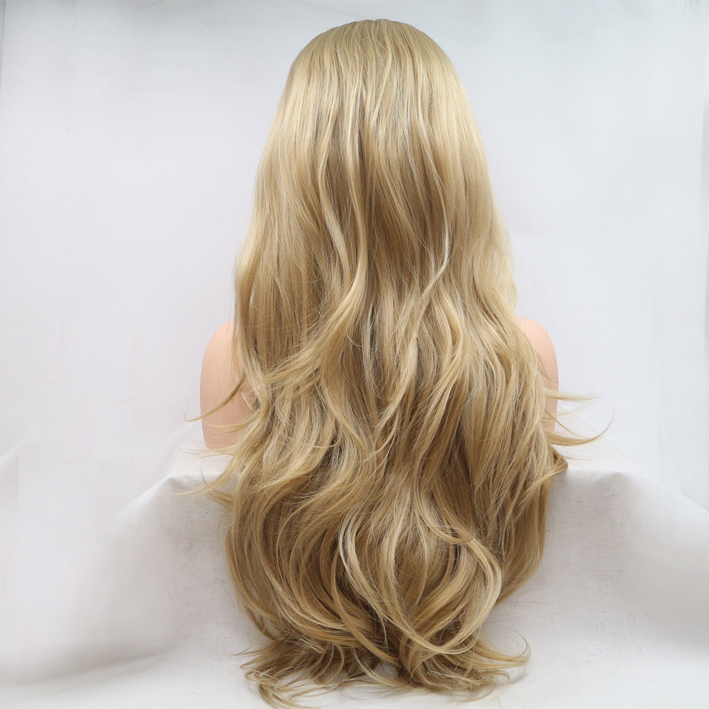 Fantasy Beauty Ombre Blonde Synthetic Lace Front Wig Half Hand Made Wavy Honey Blonde Wigs for Women Long Heat Resistant Wig/Free Shipping