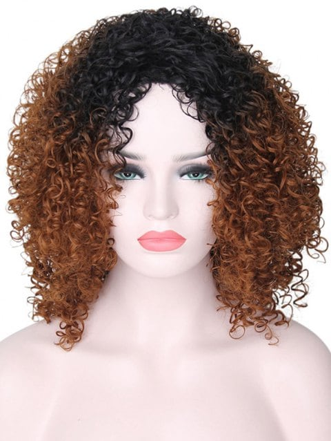Ladystar Lace Front Wigs Afro Curly Medium Gradient Synthetic Wig