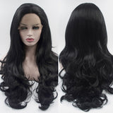 Fantasy Beauty Black Deep Part 13x6 Lace Frontal Wig High Temperature Hair Glueless Synthetic Hair Long Wave Lace Front Wigs