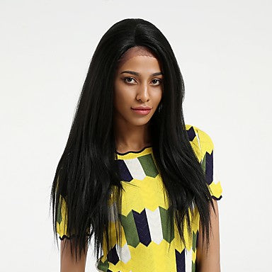 Straight Style Side Part Lace Front Wig Black Natural Black Synthetic Hair