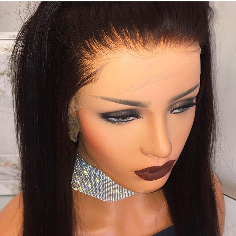 Ladiesstar 6 Inch Hand Tied Black Straight Synthetic Lace Front Wig Heat Resistant Long Middle Part Hair Wigs With Baby Hair