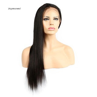 BUYME Fashion Women Front Lace Black Long Straight Hair Centre Parting Full Wigs
