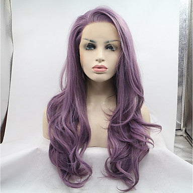 Synthetic Lace Front Wig Natural Wave Style Side Part Lace Front Wig Purple Purple Synthetic Hair 22-24 inch