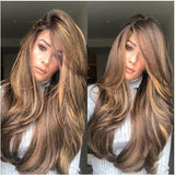Women Gradually champagne Lace Front Wave Long Wigs/Free Shipping