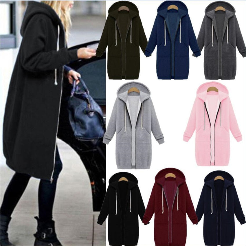 7 Colors Autumn Winter Women Casual Long Hoodies Sweatshirt Zip Up Coat Plus Size/Free Shipping