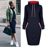 Womens Fashion Winter Spring Pullover Cold Protection Warmth Windproof Sweatshirts Long Hoodie Dress/Free Shipping