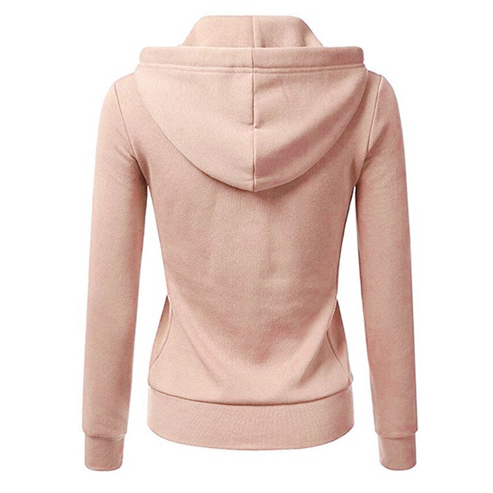 Women Long Sleeve Patchwork Solid Color Hooded Zipper Sport Coat/Free Shipping