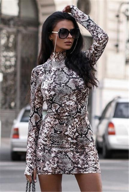 Fashion Women Turtleneck Long Sleeve Leopard Print &Snake Skin Evening Party Clubwear Bodycon Dress/Free Shipping