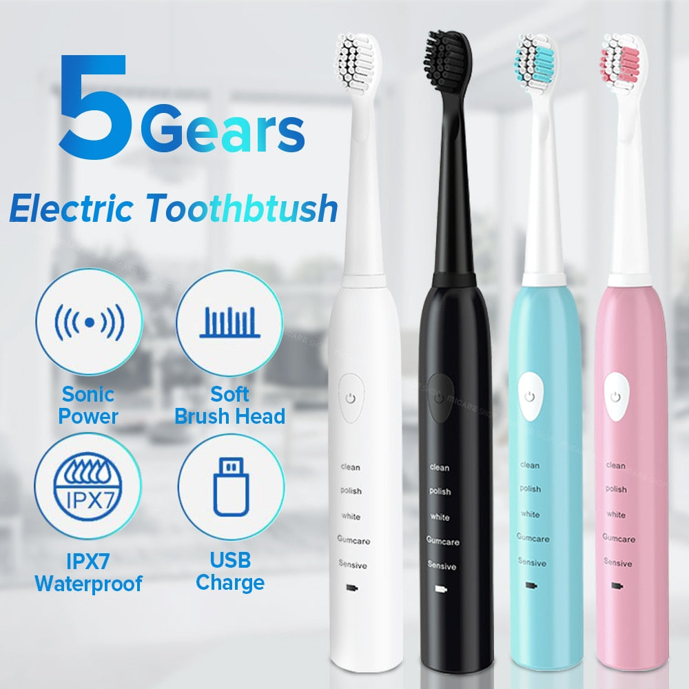 4 Colors Powerful Ultrasonic Electric Washable Whitening Teeth Brush Toothbrush USB Rechargeable/Free Shipping