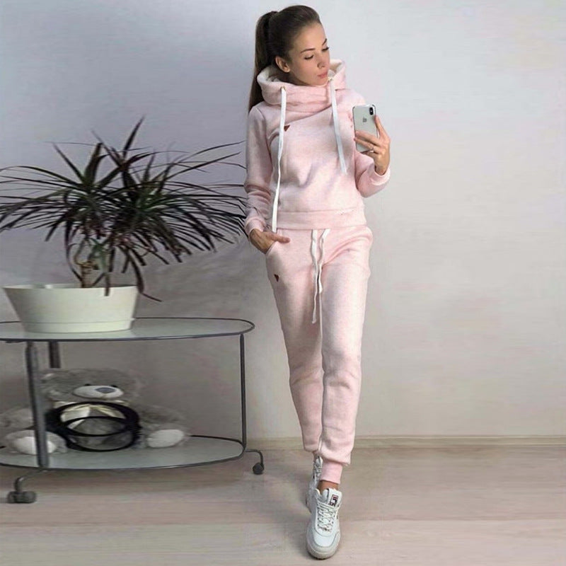 Womens Warm Clothes Casual Workout Set Solid Color Hoodies Pocket Trackpants 2 Piece Set/Free Shipping