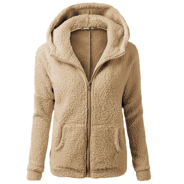 Women Plus Size Fuzzy Fleece Hoodie Jackets Wool Full-Zip Oversized Pullover Sherpa Winter Coat/Free Shipping