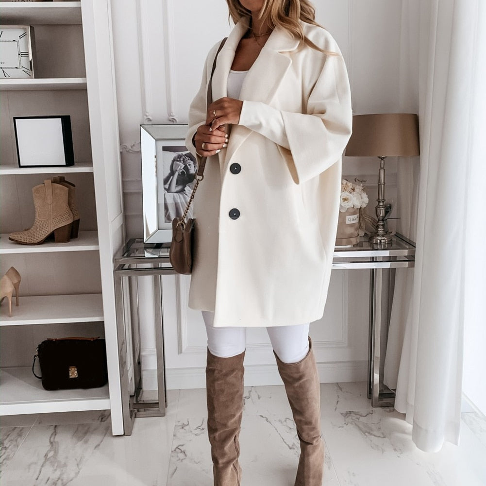 Women Casual Autumn Winter 3/4 Sleeve Pockets Buttons Long Coat Loose Jacket/Free Shipping