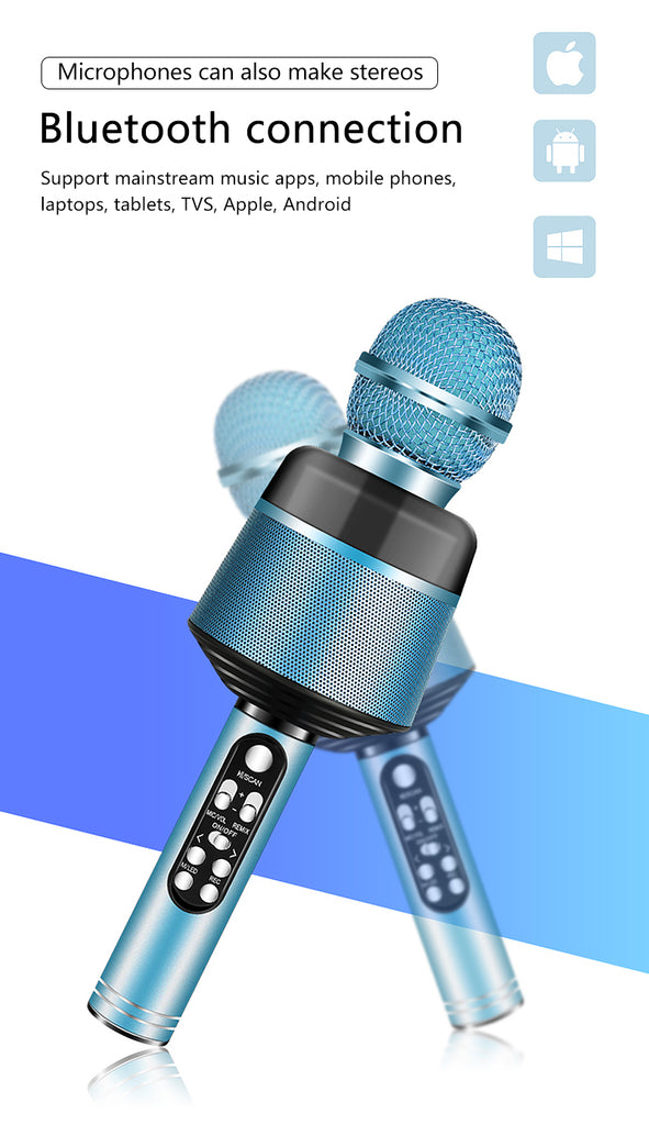 Bluetooth Microphone Wireless USB Professional Condenser Karaoke Microphone Handheld Mic Speaker For Mobile Phone Singing/Free Shipping