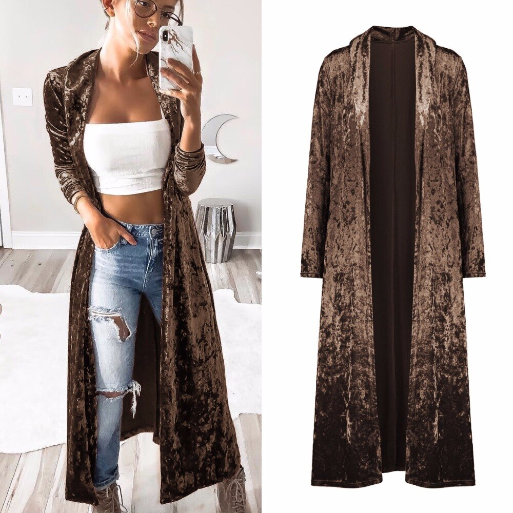 Women Casual Outwear Effortless Chic Solid Kimono Velvet Cardigan/Free Shipping