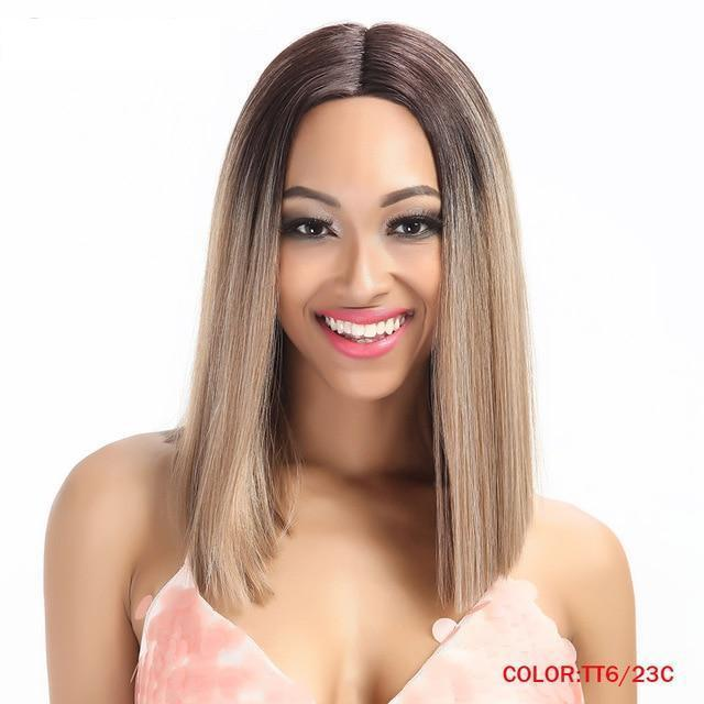 Straight Synthetic Lace Front Ombre Hair Wigs 14 Inch  7 Colors Can Choose