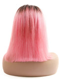 Ombre Pink Bob Lace Frontal Wigs For Women Short Straight Lace Front Brazilian Remy Hair Wigs 150%/Free Shipping
