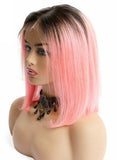 Ombre Pink Bob Lace Frontal Wigs For Women Short Straight Lace Front Brazilian Remy Hair Wigs 150%
