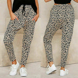 Womens Leopard Casual Jogger Pants Cotton Sweatpants Elastic Waist Drawstring Pants with Pockets/Free Shipping