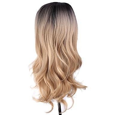 Long Wavy Black Blonde Ombre Hair Wig/Free Shipping