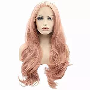 Pink Lace Front Wigs,Long Curly Synthetic Wig Lace Wig Hair Replacement Wigs