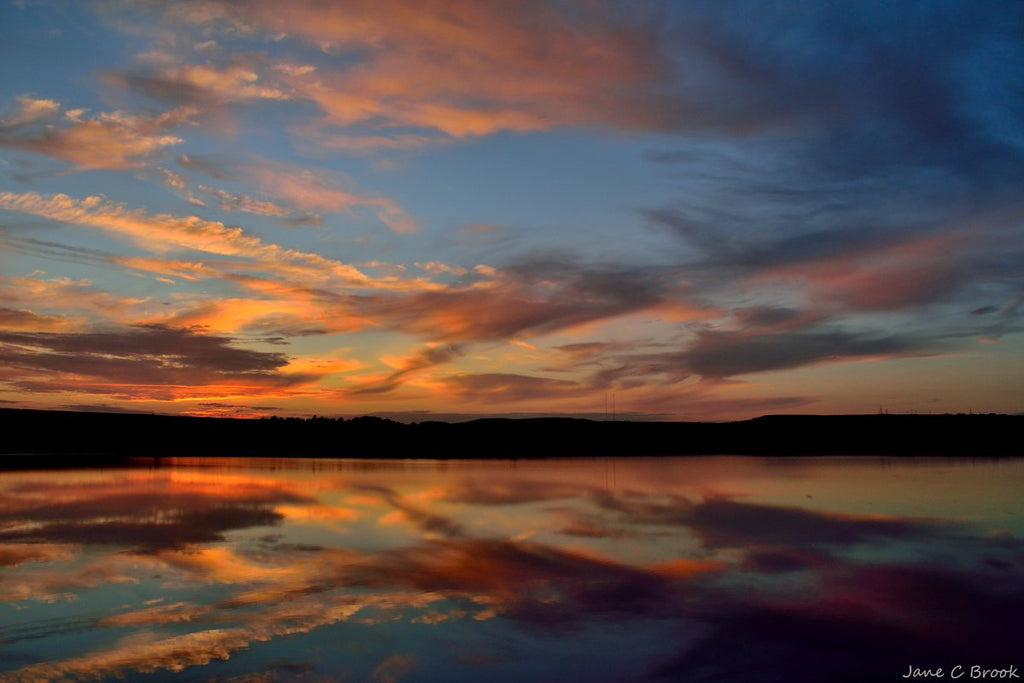 3rd Place Sunset afterglow and reflections at Blackmoorfoot Reservoir, Huddersfield by Jane Brook @jayceb19