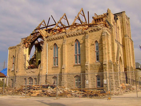 The Victoria Street United Church in Goderich following the tornado