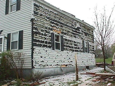 Hail Damaged Building