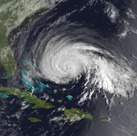 Hurricane Gloria over the Atlantic in 1985