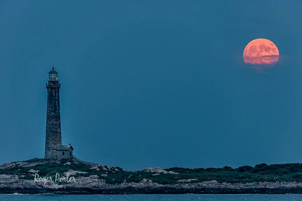 North tower and tonight's full moon peaking though the clouds in Rockport MA by Roger Porter Photography @Rogerpp397
