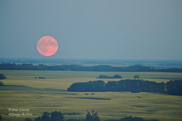 Smoke and haze made for a dramatic Full Moon rise in Edmonton, Canada by Images By Stan @ImagesByStan