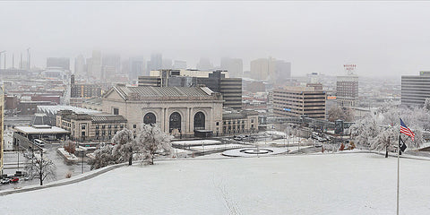 Snow in Union Station Kansas City