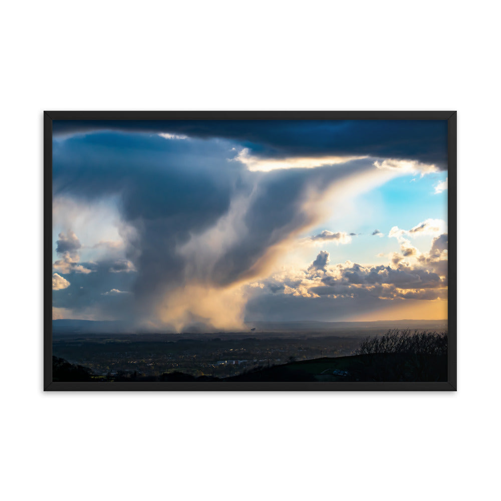 Hail Shower Over Jodrell Bank - Framed Poster by Mark Boardman