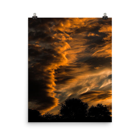Sunset and Stacked Lenticular Clouds - Poster by StormHour