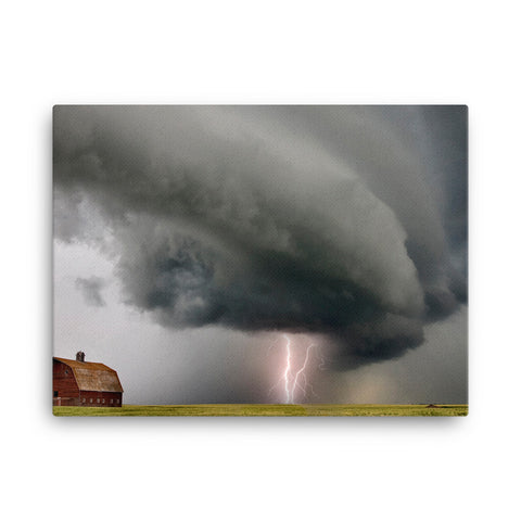 Shelf Cloud and Lightning Canvas by Mark Duffy