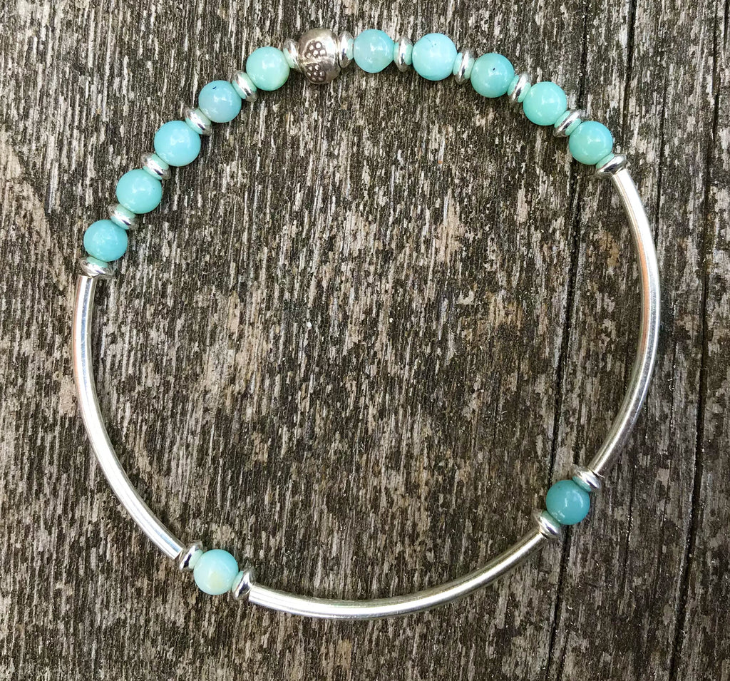 AMAZONITE & SILVER stackable bracelet.  CDN$45.00