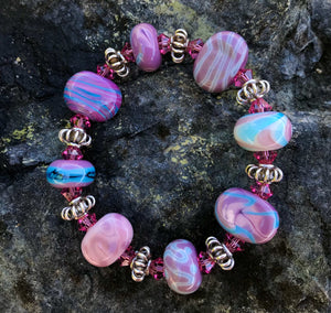 """handmade bracelet with lamp work beads, pink swarovski crystals, Thai Hill Tribe silver"""