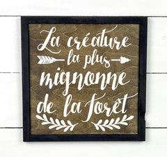 Wooden Signboard with Frame - The cutest creature. - teaches wood, sign, poster, wood signs, Old Shack Signs
