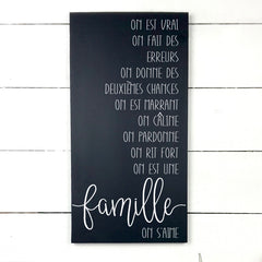 the rules of the grandparents. hand made wood sign, handmade, wood sign in French, made in Quebec, Canada, sign frame picture board, made in Quebec, Canada, local purchase, Estrie, Montreal, Old Shack